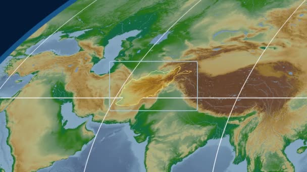 Afghanistan - 3D tube zoom (Mollweide projection). Bumps shaded
