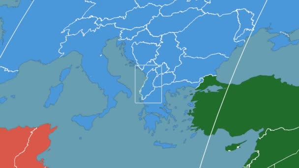 Albania - 3D tube zoom (Kavrayskiy VII projection). Continents