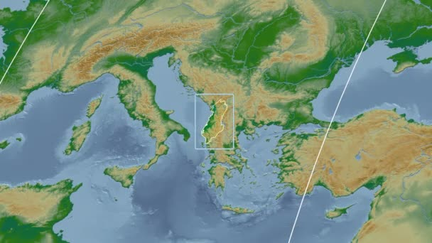 Albania - 3D tube zoom (Kavrayskiy VII projection). Bumps shaded