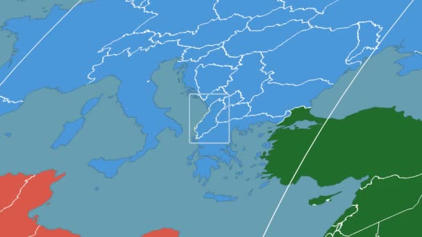 Albania - 3D tube zoom (Mollweide projection). Continents