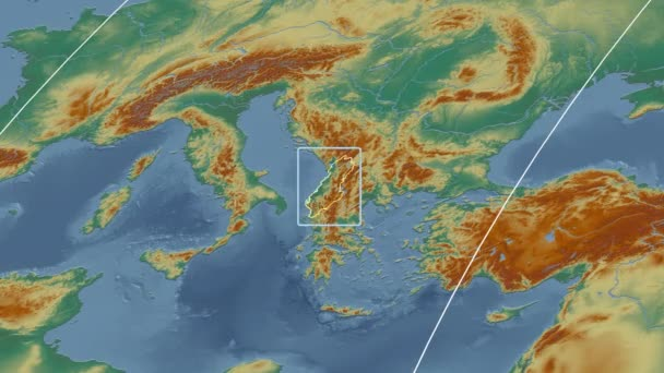 Albania - 3D tube zoom (Mollweide projection). Relief
