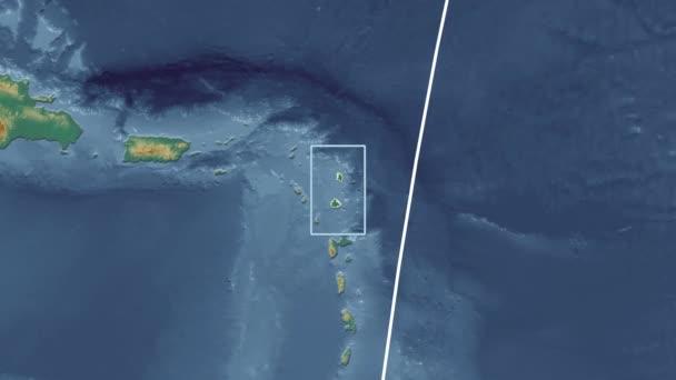 Antigua and Barbuda - 3D tube zoom (Kavrayskiy VII projection). Relief