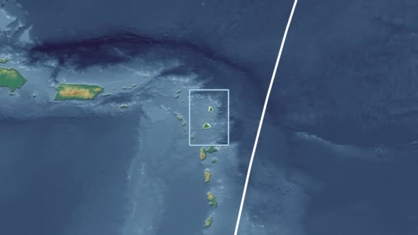 Antigua and Barbuda - 3D tube zoom (Mollweide projection). Relief
