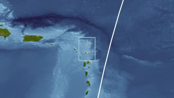 Antigua and Barbuda - 3D tube zoom (Mollweide projection). Satellite
