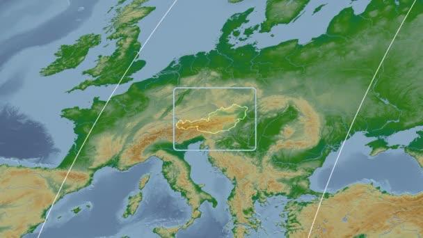 Austria - 3D tube zoom (Kavrayskiy VII projection). Bumps shaded