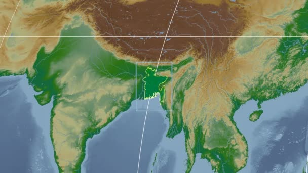 Bangladesh - 3D tube zoom (Kavrayskiy VII projection). Bumps shaded