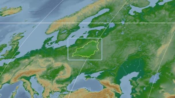 Belarus - 3D tube zoom (Kavrayskiy VII projection). Bumps shaded