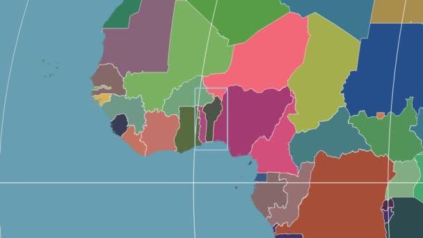 Benin - 3D tube zoom (Kavrayskiy VII projection). Administrative