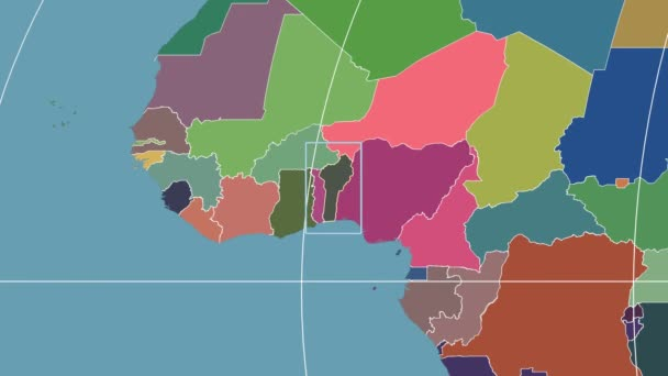 Benin - 3D tube zoom (Mollweide projection). Administrative