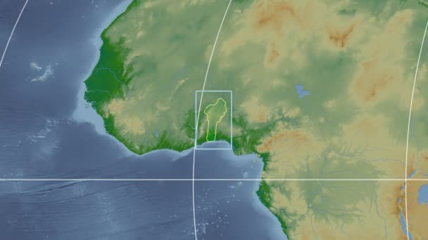 Benin - 3D tube zoom (Mollweide projection). Bumps shaded
