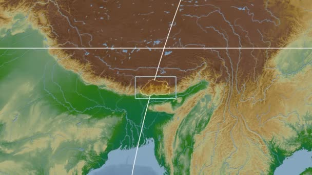 Bhutan - 3D tube zoom (Kavrayskiy VII projection). Bumps shaded