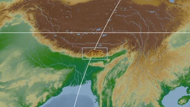Bhutan - 3D tube zoom (Mollweide projection). Bumps shaded