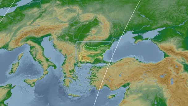 Bulgaria - 3D tube zoom (Kavrayskiy VII projection). Bumps shaded