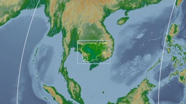 Cambodia - 3D tube zoom (Mollweide projection). Bumps shaded