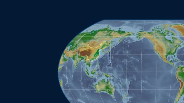 China - 3D tube zoom (Kavrayskiy VII projection). Bumps shaded