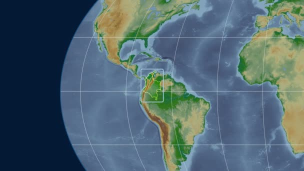 Colombia - 3D tube zoom (Kavrayskiy VII projection). Bumps shaded