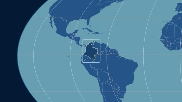 Colombia - 3D tube zoom (Mollweide projection). Solids