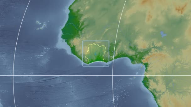 Cote dIvoire - 3D tube zoom (Mollweide projection). Bumps shaded