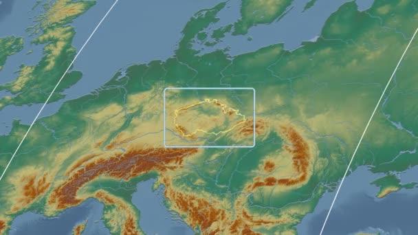 Česká republika - 3d trubice zoom (Kavrayskiy Vii projekce). Reliéf