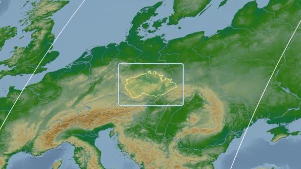 Česká republika - 3d trubice zoom (Kavrayskiy Vii projekce). Hrboly stínované