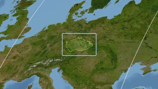 Česká republika - 3d trubice zoom (Kavrayskiy Vii projekce). Satelitní