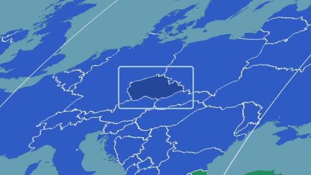 Česká republika - 3d trubice zoom (Mollweidovo zobrazení). Kontinenty