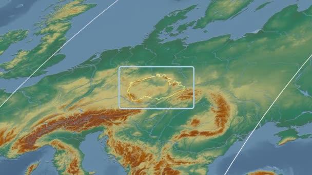 Česká republika - 3d trubice zoom (Mollweidovo zobrazení). Reliéf