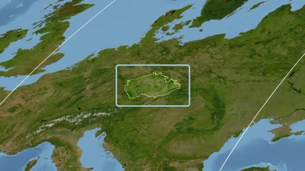 Česká republika - 3d trubice zoom (Mollweidovo zobrazení). Satelitní