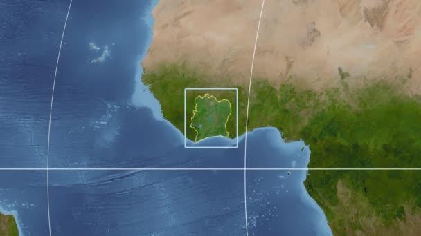 Cote dIvoire - 3D tube zoom (Kavrayskiy VII projection). Satellite