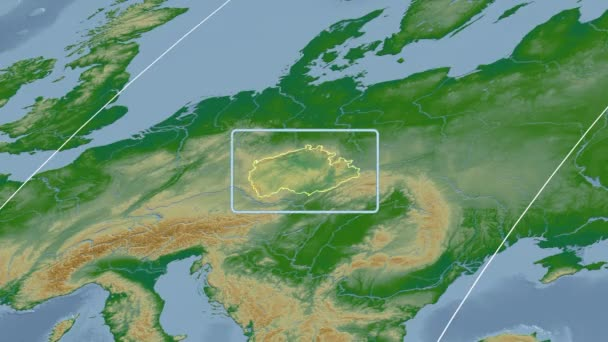 Czech Republic - 3D tube zoom (Mollweide projection). Bumps shaded