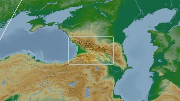 Georgia - 3D tube zoom (Kavrayskiy VII projection). Bumps shaded