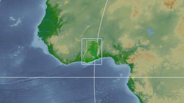 Ghana - 3D tube zoom (Mollweide projection). Bumps shaded