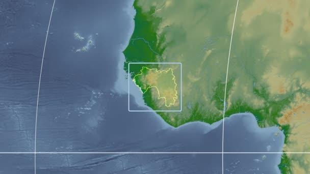 Guinea - 3D tube zoom (Kavrayskiy VII projection). Bumps shaded
