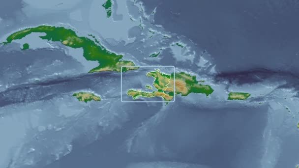 Haiti - 3D tube zoom (Mollweide projection). Bumps shaded