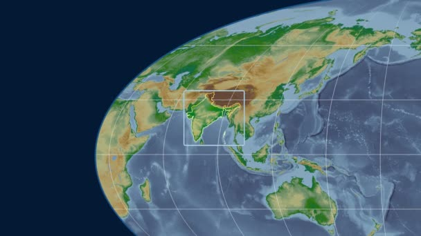 India - 3D tube zoom (Mollweide projection). Bumps shaded