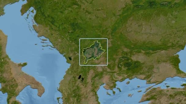 Kosovo - 3D tube zoom (Kavrayskiy VII projection). Satellite