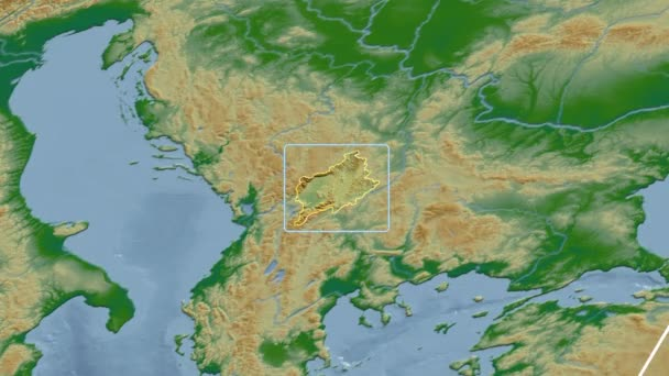Kosovo - 3D tube zoom (Mollweide projection). Bumps shaded