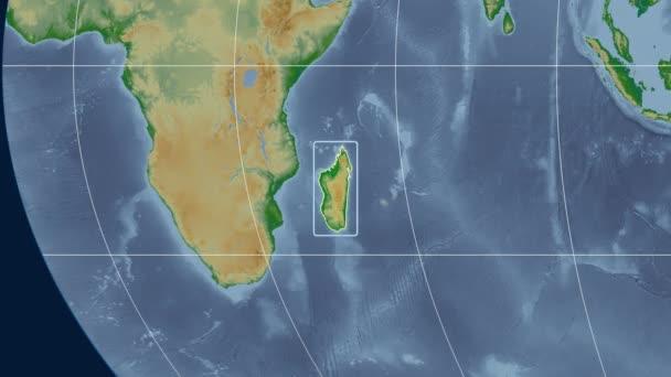 Madagascar - 3D tube zoom (Kavrayskiy VII projection). Bumps shaded