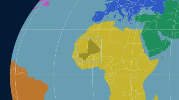 Mali - 3D tube zoom (Kavrayskiy VII projection). Continents