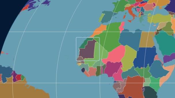 Mauritania - 3D tube zoom (Kavrayskiy VII projection). Administrative