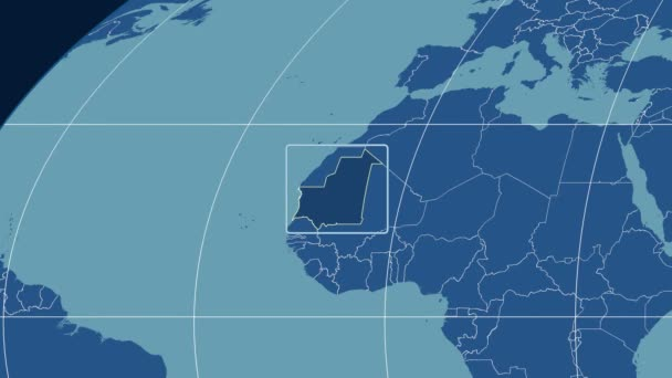 Mauritania - 3D tube zoom (Mollweide projection). Solids