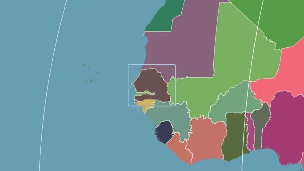 Senegal - 3D tube zoom (Kavrayskiy VII projection). Administrative