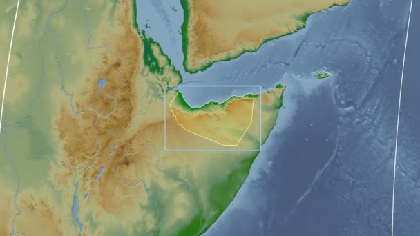 Somaliland - 3D tube zoom (Kavrayskiy VII projection). Bumps shaded