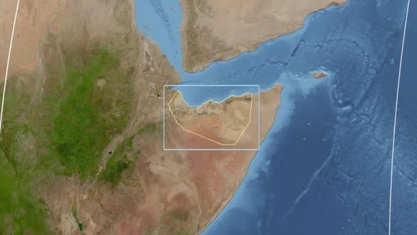Somaliland - 3D tube zoom (Kavrayskiy VII projection). Satellite