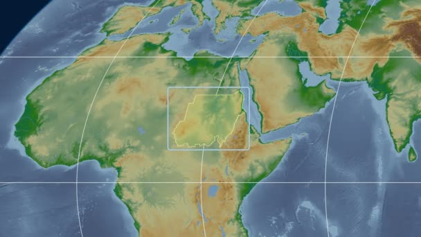 Sudan - 3D tube zoom (Mollweide projection). Bumps shaded