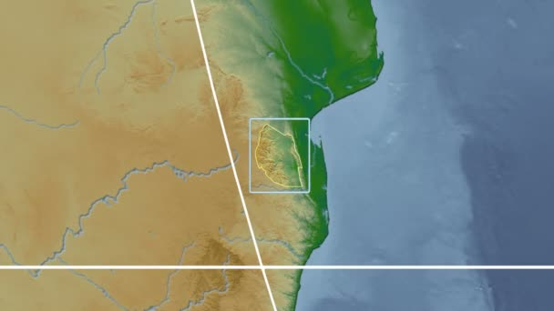 Swaziland - 3D tube zoom (Kavrayskiy VII projection). Bumps shaded