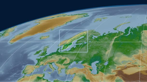 Sweden - 3D tube zoom (Mollweide projection). Bumps shaded