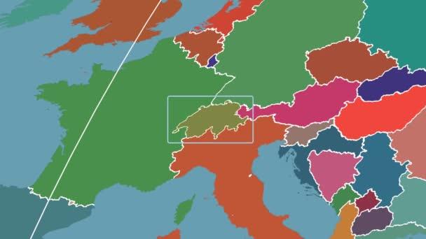 Switzerland - 3D tube zoom (Kavrayskiy VII projection). Administrative