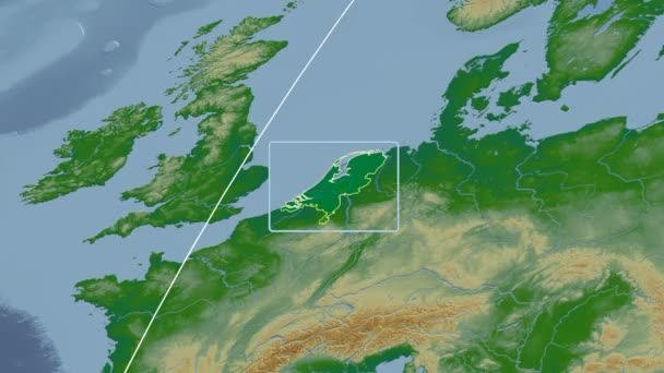 Netherlands - 3D tube zoom (Kavrayskiy VII projection). Bumps shaded