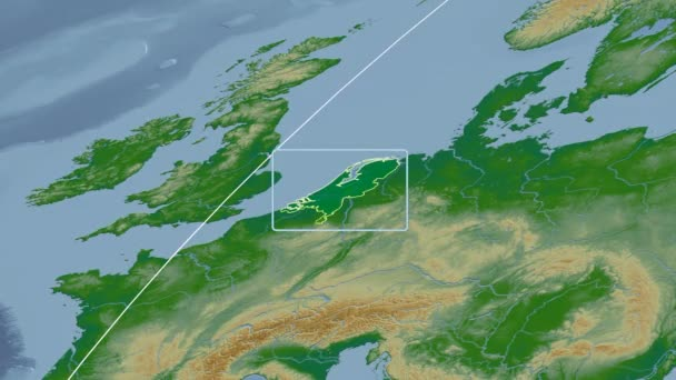 Netherlands - 3D tube zoom (Mollweide projection). Bumps shaded